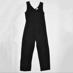 Denim - Vintage 1990's Silky and Breezy Jumpsuit in black